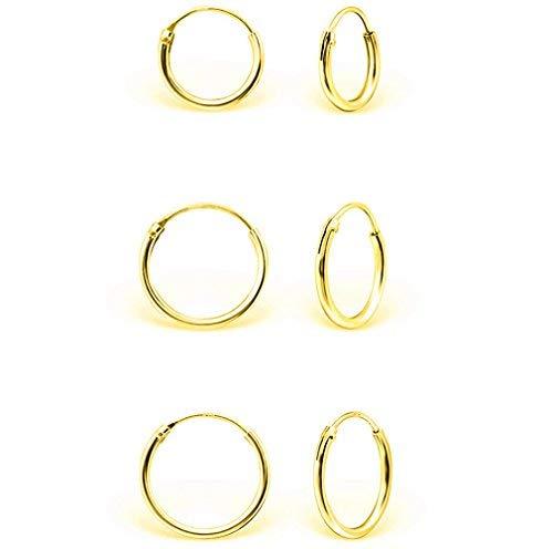 DTPsilver® 3 Pares de Pendientes de Aro/Creoles Muy Pequeños - Plata de Ley 925, Plateada en Oro Amarillo o Rosa - Trago/Helice/Cartilago - Espesor 1.2 mm, Diámetro 8, 10, 12 mm