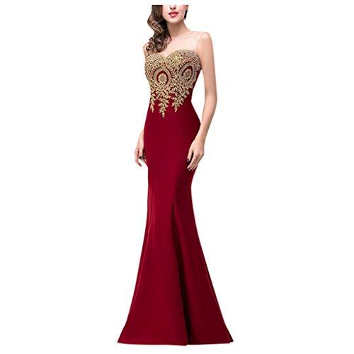 Hotkey Vestido longo para festa à noite, vestido longo de formatura, vestido de baile, vestido de dama de honra, vestido de coquetel, Vinho, G