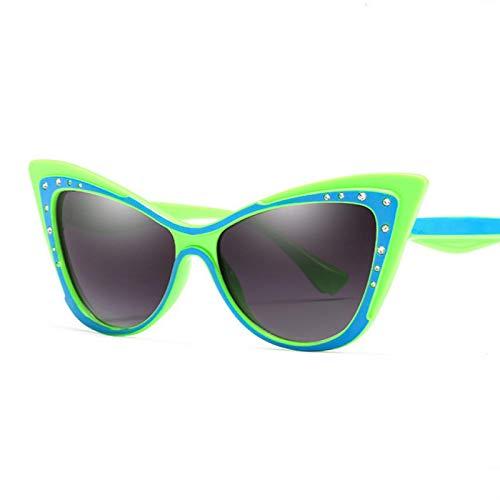 YOULIER Gafas de sol de diamante de moda de las mujeres retro ojo de gato gafas de sol mariposa verde hierba marco cobre molde azul