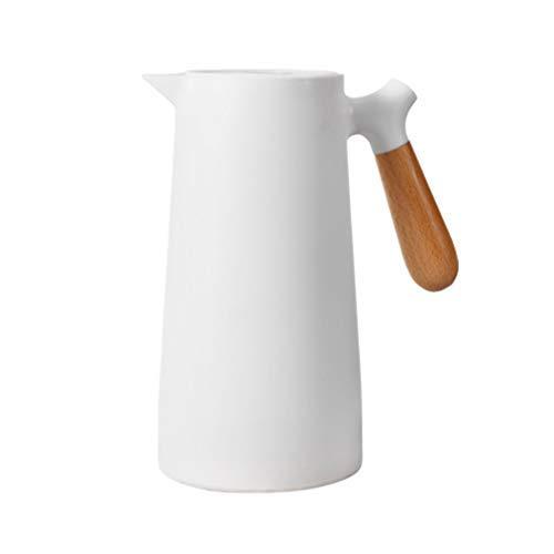Isolierte Kaffeekanne, 1 Liter, einfache & stilvolle Thermoskanne mit Holzgriff, auslaufsichere Vakuumglas-Thermos, für Kaffee/Tee/Wasser/Getränke