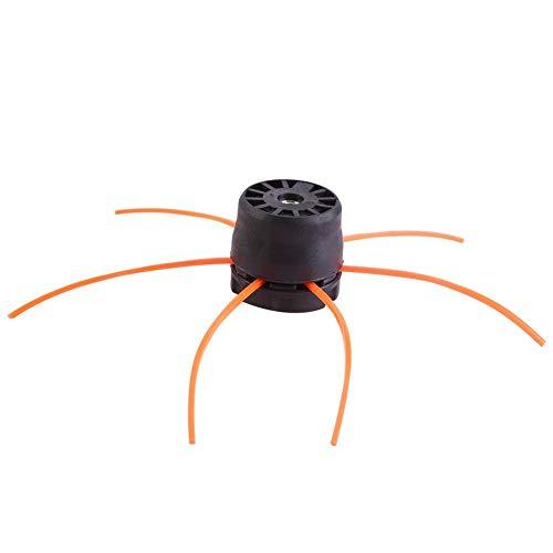Juego de cuerdas de cabezales de corte de plástico universal, 6 líneas, cortadora de césped dividida de bobina universal, cortadora de cepillo, cortador de césped para desbrozadora de gasolina(Negro)