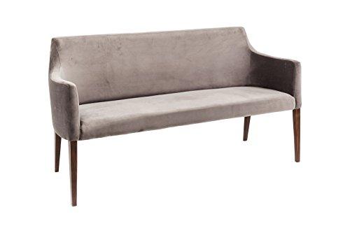 KARE Design Polsterbank Mode Velvet Grey 83020, Bank mit Samt Bezug, Esszimmerbank Grau, Füße Buche massiv, Nussbaum lackiert