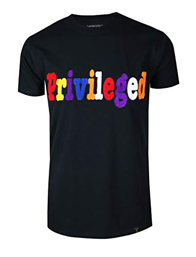 SCREENSHOTBRAND-S11942 Mens Hip-Hop Fashion Premium Tee Privileged Chenille Patch Applique T-Shirt-Black-Small