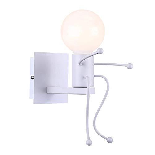 Lámpara De Pared Retro Lámpara De Pared Retro Industrial Lámpara De Pared De Villano Creativo Lámpara De Pared Iluminación De Interior Lámpara De Mesilla LED De Metal De Una Sola Cabeza (negro / Blanc
