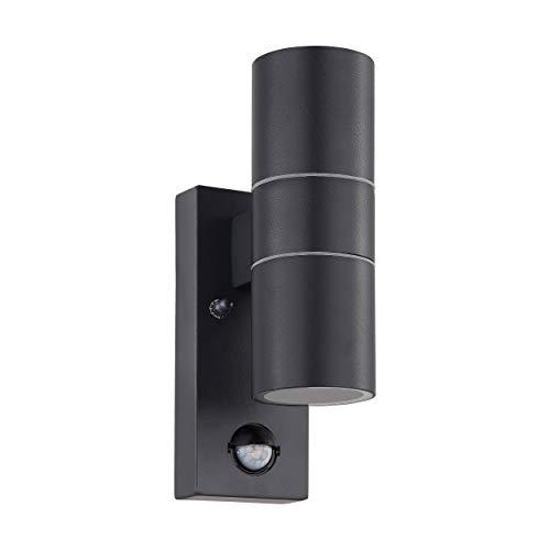 EGLO LED Außen-Wandlampe Riga 5, 2 flammige Außenleuchte inkl. Bewegungsmelder, Sensor-Wandleuchte aus verzinktem Stahl und Glas, Farbe: Anthrazit, IP44