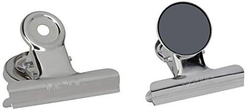 Maul 2183096 Magnet Papierklammern mit Schutzfolie, Weite 15 mm, 2 Stück, 39 x 30 mm, Silber-Metall