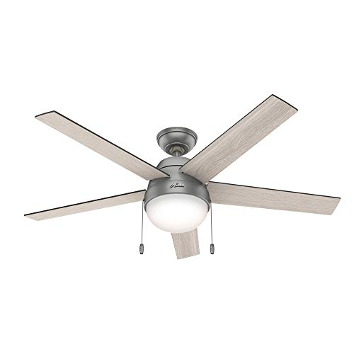 """Hunter Fan Company 50230 Anslee Indoor Ceiling Fan with LED Light and Pull Chain Control, 52"""", Silver"""