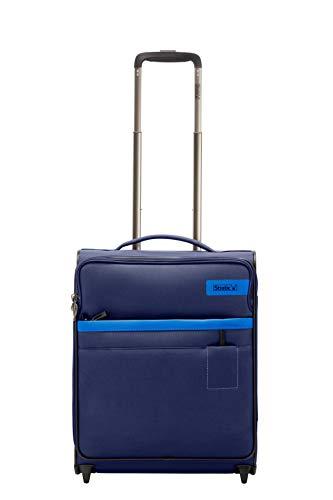 STRATIC Light Koffer weichschale Trolley Rollkoffer Reisekoffer Handgepäck TSA-Zahlenschloss, erweiterbar, extra leicht, inkl. Einkaufsbeutel, Größe S, Navy