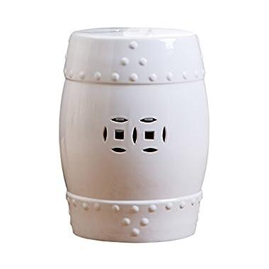 Abbyson® Madras Ceramic Garden Stool, White
