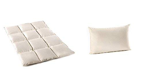 Kinder Set Luxus - 100% Natur Daunen/Federn Bettdecke und Kissen 100x135 cm/ 40x60 cm