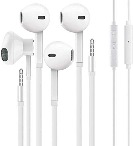 2 Pack Earbuds Headphones Earphones with 3.5mm Wired in-Ear Headphone Plug Built-in Microphone and Volume Control Compatible with iPhone, PC, MP3,MP4, Android
