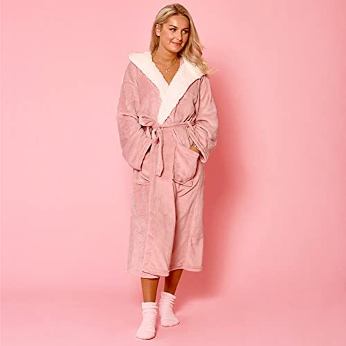 Sienna Hooded Dressing Gowns for Women UK Super Soft Flannel Fleece Sherpa Lined Fluffy Mens Luxurious Comfy Cosy Bathrobe - Blush Pink