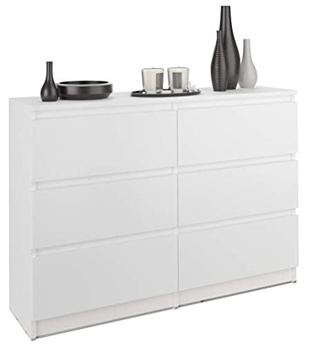 FRAMIRE R-120 Kommode in Weiß, Kommode mit 6 Schubladen, Schrank für Schlafzimmer, Wohnzimmer, Bad, 120 x 76 x 31 cm