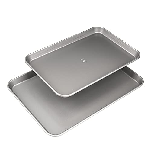 Goodful Non-Stick Cookie Sheet Baking Pan, 2 Pack, Made Without PFOA or PTFE, Dishwasher Safe, 17' x 12' and 15' x 10', Gray