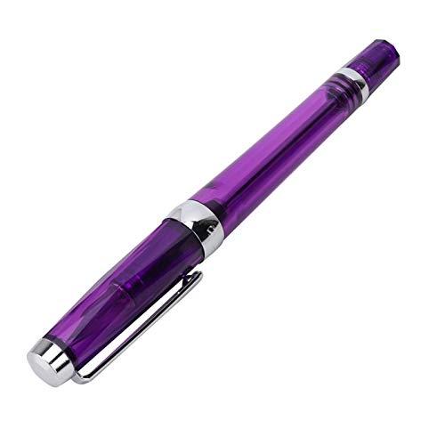 Pluma estilográfica de plástico de gran capacidad para escribir a mano para regalos para dibujar para estudiantes(Transparent purple)