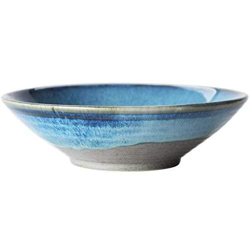 JIANMUDAN Cuenco de Ensalada de Frutas, Ensalada Cerámica Cerámica Japonés Gran Ramen Tazón Cocina Retro Vajilla (Color: Azul, Tamaño: 20x6cm) (Color : Blue, Size : 20x6cm)