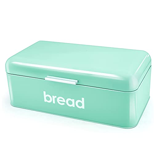 P&P CHEF Bread Box(16.5'' x 9''), Teal Bread Bin For Kitchen Counter, Storage Loaf/Doughnut/Cake/Biscuit/Baked Goods, & Smooth Surface, Sturdy Handle & Air Holes
