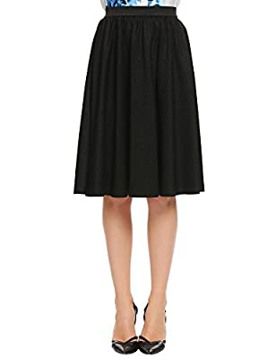 Zeagoo Women's High Waist Midi Long Pleated Skirt