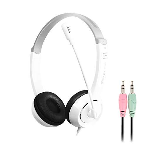 Marxways Gaming-Headset 3-mm-Over-Ear-Stereo-Gaming-Headset für PS4, PC, Xbox One-Mikrofon mit Mikrofon, LED-Licht, Bass-Surround, Ohrenschützer mit weichem Speicher für PC (Weiß/Doppelstecker)
