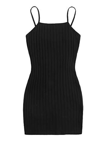 DIDK Damen Kleider Figurbetontes Minikleid Camisole Kurz Spaghettiträger Kleid Bodycon Sommer Baumwollekleid Camikleid Schwarz S