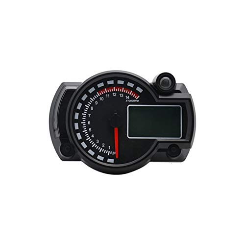 Al22-7 -7-Color LED Motorcycle RX2N ATV LCD Tacómetro de velocímetro Digital 15000RPM (Color : Black)