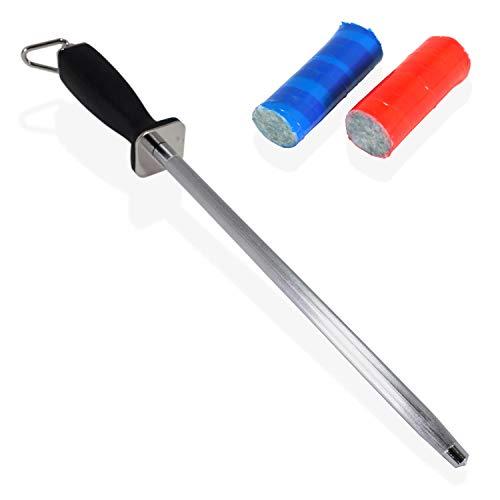 PATSONTM 15 Inch Koolstofstaal Mes Honing Sharpener met Slip Resistant Handvat en Opslag Haak Compleet met 2 Stuks Roestvrij Staal Reinigingsstaven