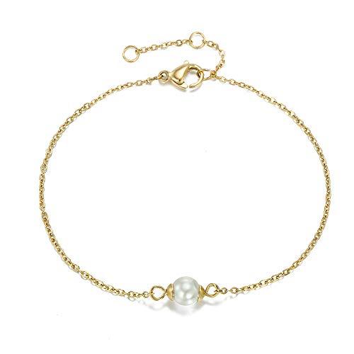 Women's pearl bracelet, stainless steel. gold