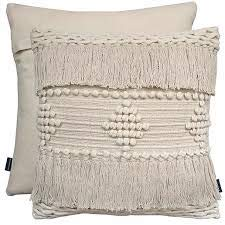 Cushion Cover Thick Wool Textured Nordic Knit Tassel Pom Pom 100% Cotton Plain Back 17' x 17' (43 cm x 43 cm) (Diamond Cream)