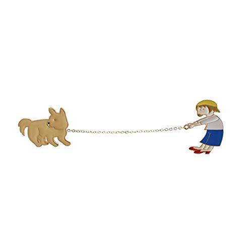 GuDeKe かわいい そり犬 犬を歩く少年少女 チェーンブローチ 帽子にも似合うピンス (B)