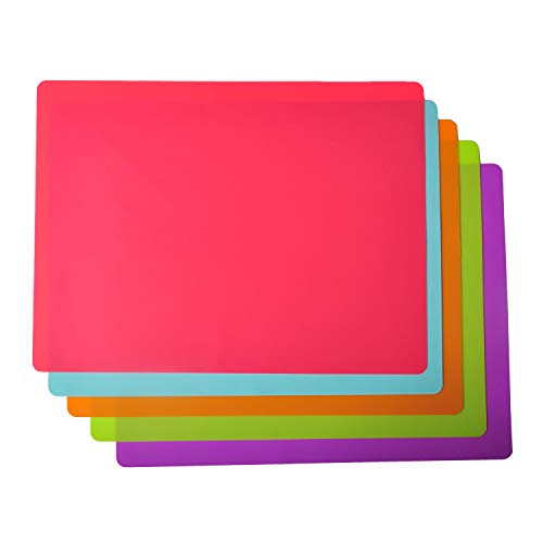 Placemats for Kids, Silicone Placemat for Dining Kitchen Table, Waterproof Dining Mat for Kids Baby Toddler, Reusable, Easy to Clean (5 Pack)