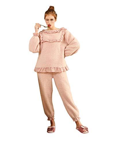 TaoRan Pyjamas Frauen Herbst und Winter Dicke Blase Samt Bogen Spitze Prinzessin niedlichen Damen nach Hause Kleid Bademantel-Pink_L