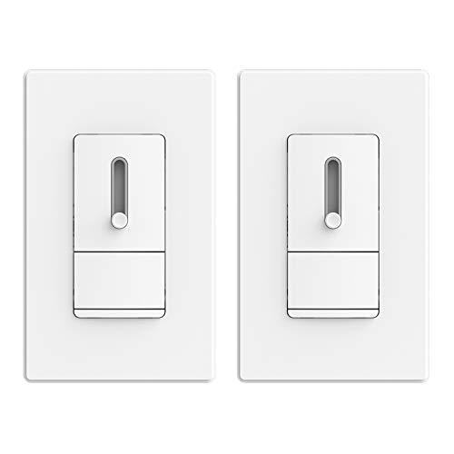 ELEGRP Slide Dimmer Switch for Dimmable LED, CFL and Incandescent Light Lamp Bulbs, Single Pole or 3-Way, Full Control with Preset, Rocker Paddle, Wall Plate Included, UL Listed (2 Pack, Matte White)