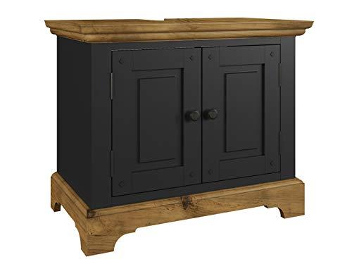 Woodkings® Bad Waschbeckenunterschrank Kenia Holz Badmöbel Massivholz matt mit Türen Badezimmer Badschrank (schwarz)