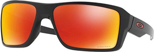 Oakley Men's OO9380 Double Edge Rectangular Sunglasses, Matte Black/Prizm Ruby Polarized, 66 mm