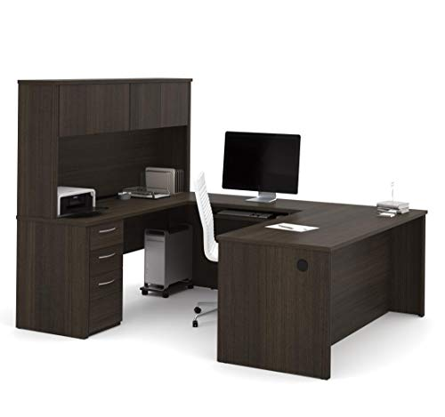 Bestar, Embassy Collection, U or L-Shaped Executive Office Desk with Pedestal and Hutch