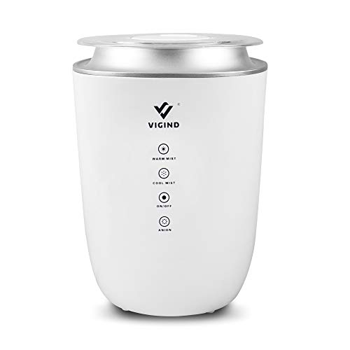VIGIND 4L Cool & Warm Mist Humidifier, Large Capacity Essential Oil Diffuser for Large Room,Comfort Humidifiers for Bedroom & Baby,Ultrasonic Humidifier with Multiple Filters, Auto-Off & Safety,Quiet
