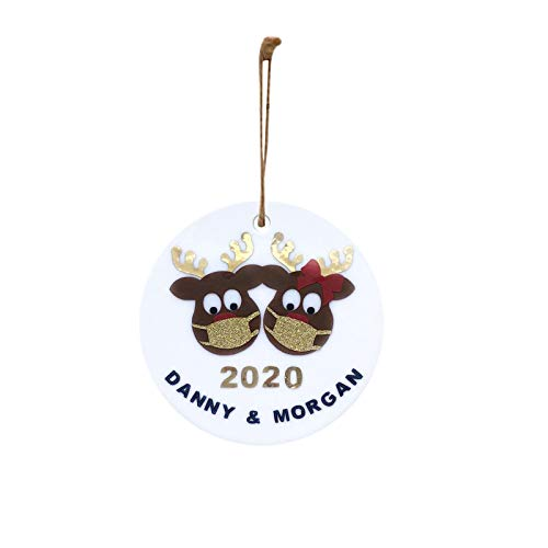 ACWERT Wooden Reindeer Tree Decoration,2020 Christmas Pendant Circle Ornaments for Holiday Hilarious and Funny,Toilet Paper Hanging for Room Party,White Novelty Unique (C)