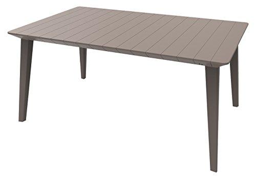 Keter Allibert Lima 160 Outdoor Garden Furniture Dining Table, Cappuccino, 6-Seater