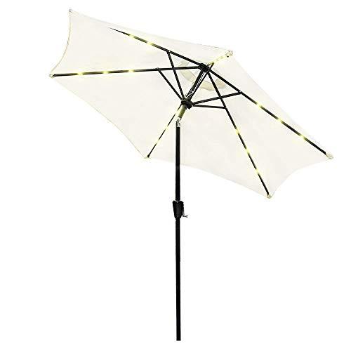 2.7M Luces LED Ronda Patio al Aire Libre del jardín Sombrilla Paraguas Parasol, Beige BBGSFDC (Color : Beige, Size : K73m)