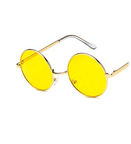 YUFUD Gafa de sol Gafas de sol redondas Mujer Lente de marco de metal vintage Gafas de sol de sombra colorida UV400 A