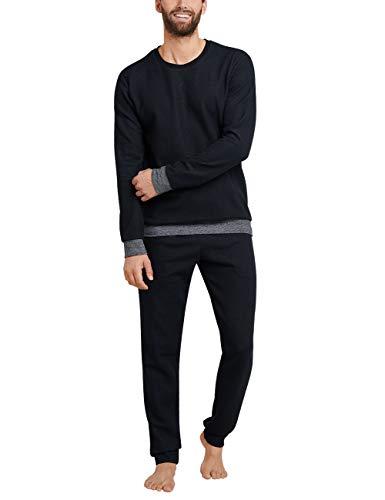 Schiesser Herren Sleep + Lounge lang Zweiteiliger Schlafanzug, Schwarz (Schwarz 000), XXX-Large (Herstellergröße: 058)