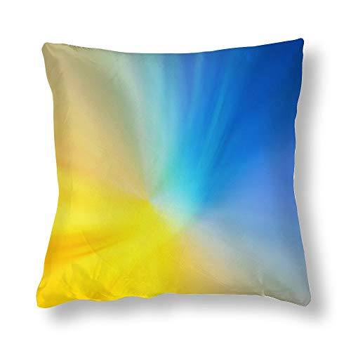 Perfecone Home Improvement - Funda de almohada de algodón para sofá y coche, color azul y amarillo, 1 paquete de 40 x 40 cm