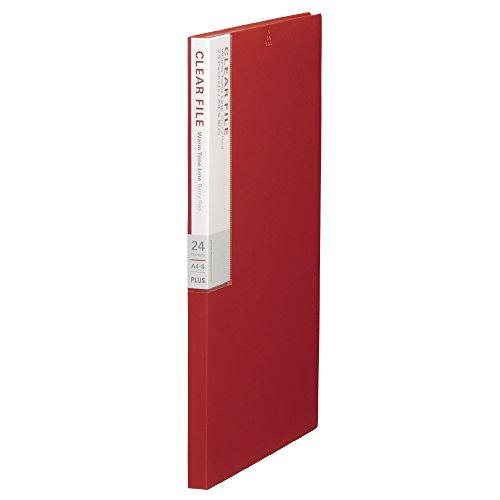プラス クリアファイル A4縦 24ポケット デジャヴ 89-608 ベリーレッド