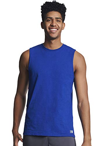 Russell Athletic Men's Cotton Performance Sleeveless Muscle T-shirt,Royal,XXX-Large