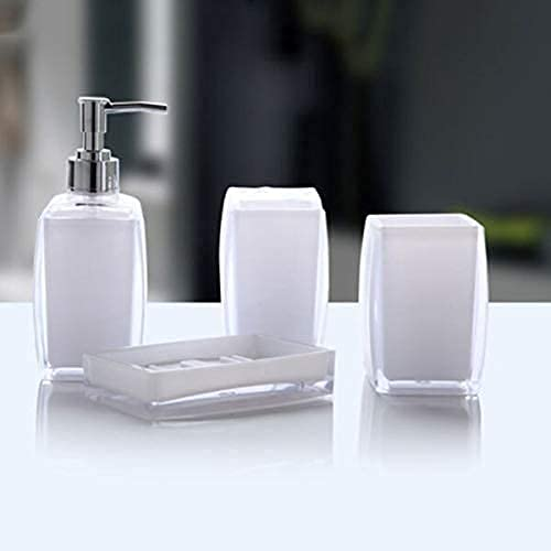 ZYQHJKLHK Juego de Accesorios de baño Recién acrílico Juego de Accesorios de baño de 4 Piezas Dispensador de jabón Botella Jabonera Taza Portacepillos de Dientes Estuche Caddy (Color: Púrpura Tamaño: