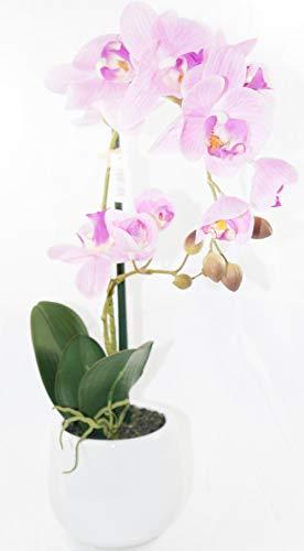 dekojohnson - kunstmatige orchidee Phalaenopsis bloempot decoratieve plant oud-roze - natuurlijke kunstplant 48cm hoog