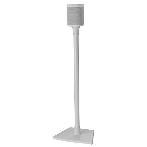 Sanus Wireless Sonos Speaker Stand for Sonos One, Play:1, & Play:3 - Audio-Enhancing Design with Built-in Cable Management - Single Stand (White) - WSS21-W1