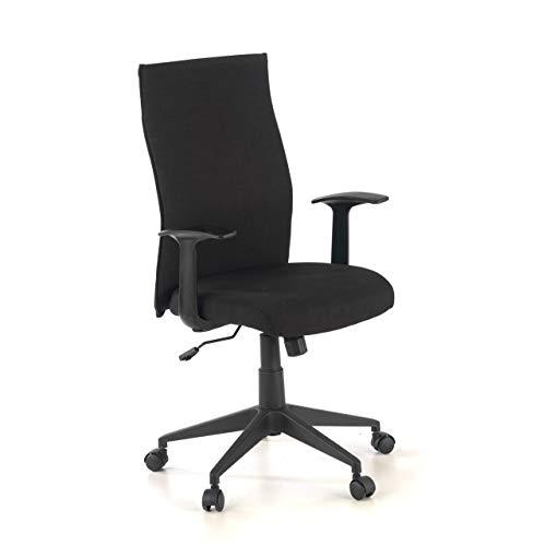 Ofichairs Sillón Ikara Silla de Escritorio Silla de Oficina Sillón Despacho Tapizado Respaldo Alto Brazos Fijos Color Negro
