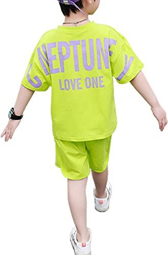 [ウェアビー]上下セットアップ 半袖 Tシャツ ハーフパンツ バックロゴ プリント キッズ ボーイズ シャツ ショートパンツ スポーツ サッカー フットサル トレーニング プラクティスシャツ プラクティスパンツ 胸ロゴ 夏服 5分袖 韓国 ゆったり 大きめ