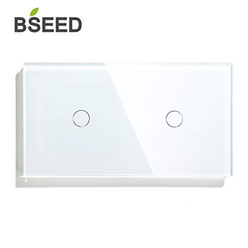 BSEED Doppelt Touch Dimmer ohne WiFi Glasscheibe 157 * 86mm Wandlichtschalter Weiß